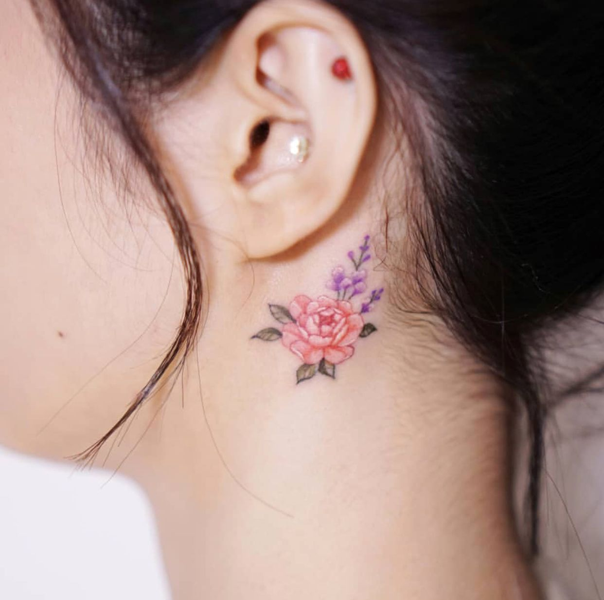 Small Behind The Ear Watercolor Flowers Tattoo Watercolor
