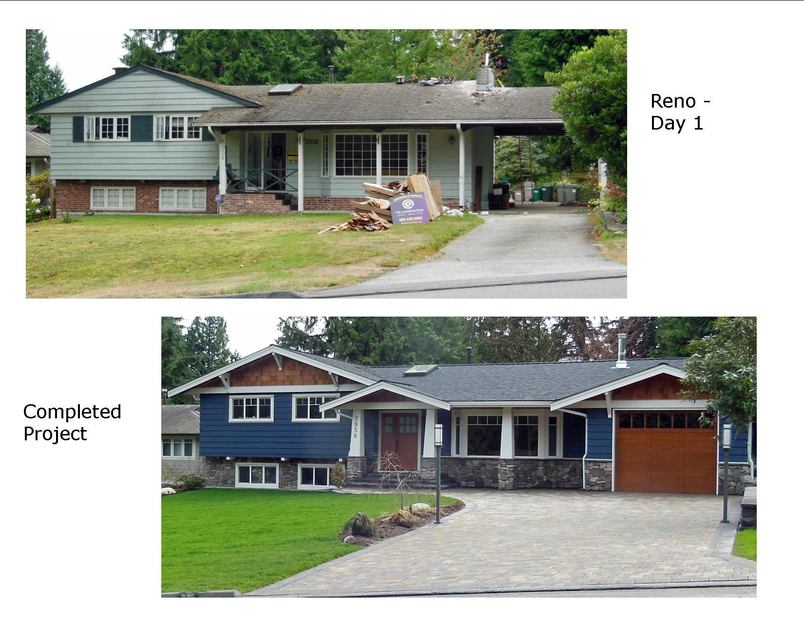 Before and after photos renovation of 1960 39 s split level rancher contractor tq construction - Exterior home remodel ...