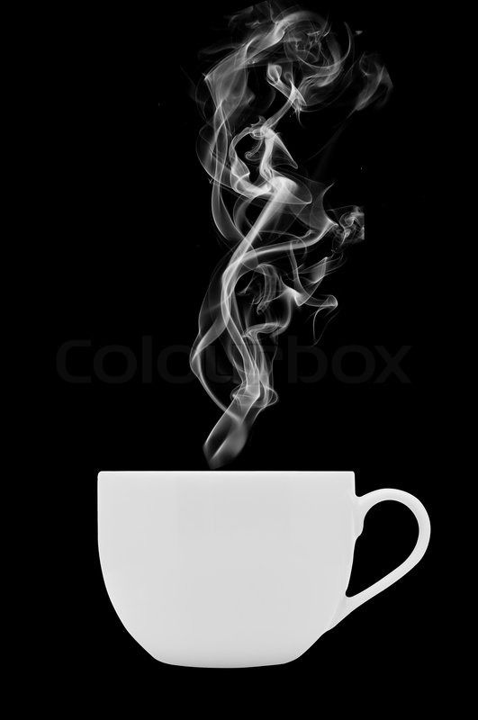 Coffee Cup With Steam On Black Background Stock Photo Colourbox Black Background Images Coffee Cups Black Backgrounds
