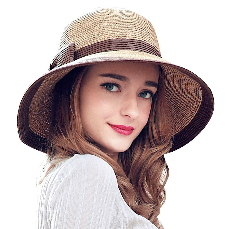 Home Prefer Womens Straw Sun Hat UPF50+ Wide Brim Floppy Hat Summer Beach  Cap Brown at Amazon Women s Clothing store  e4f1a231c25