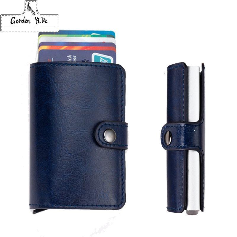 Antitheft men RFID wallet pu leather slim mini wallets automatic ...