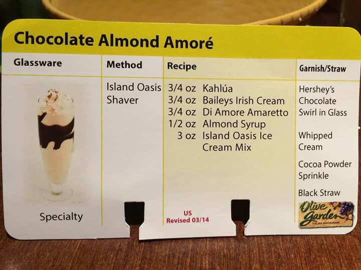 the waiter at olive garden let me have the recipe for their chocolate almond amor yum - Olive Garden Happy Hour