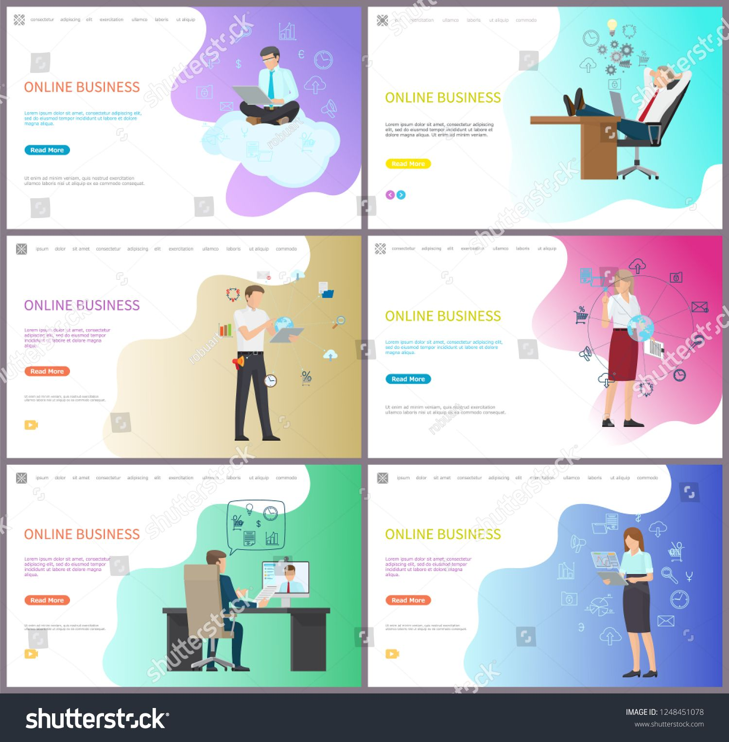 Online Business For Companies And Investors Set Of Posters With