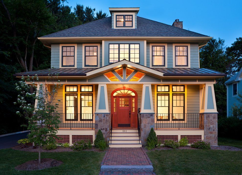 Pin By Beth Gosch On American Foursquare Craftsman Bungalow House Plans Craftsman House Craftsman Exterior