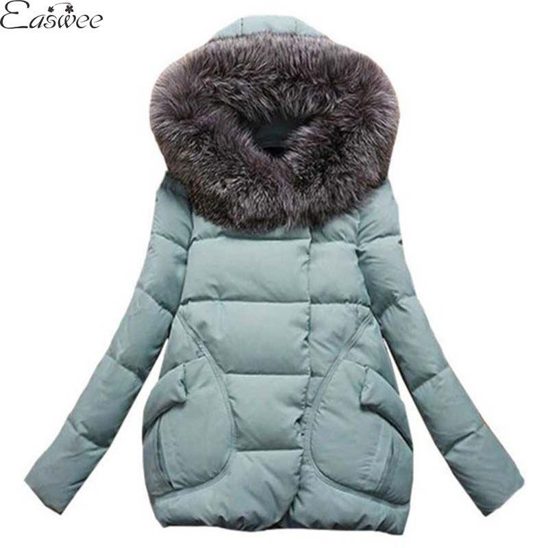 1 개 겨울 자켓 여성 모피 후드 솜 패딩 코트 여성 겨울 파카 Casaco Abrigos Mujer Jaqueta Feminina Z002