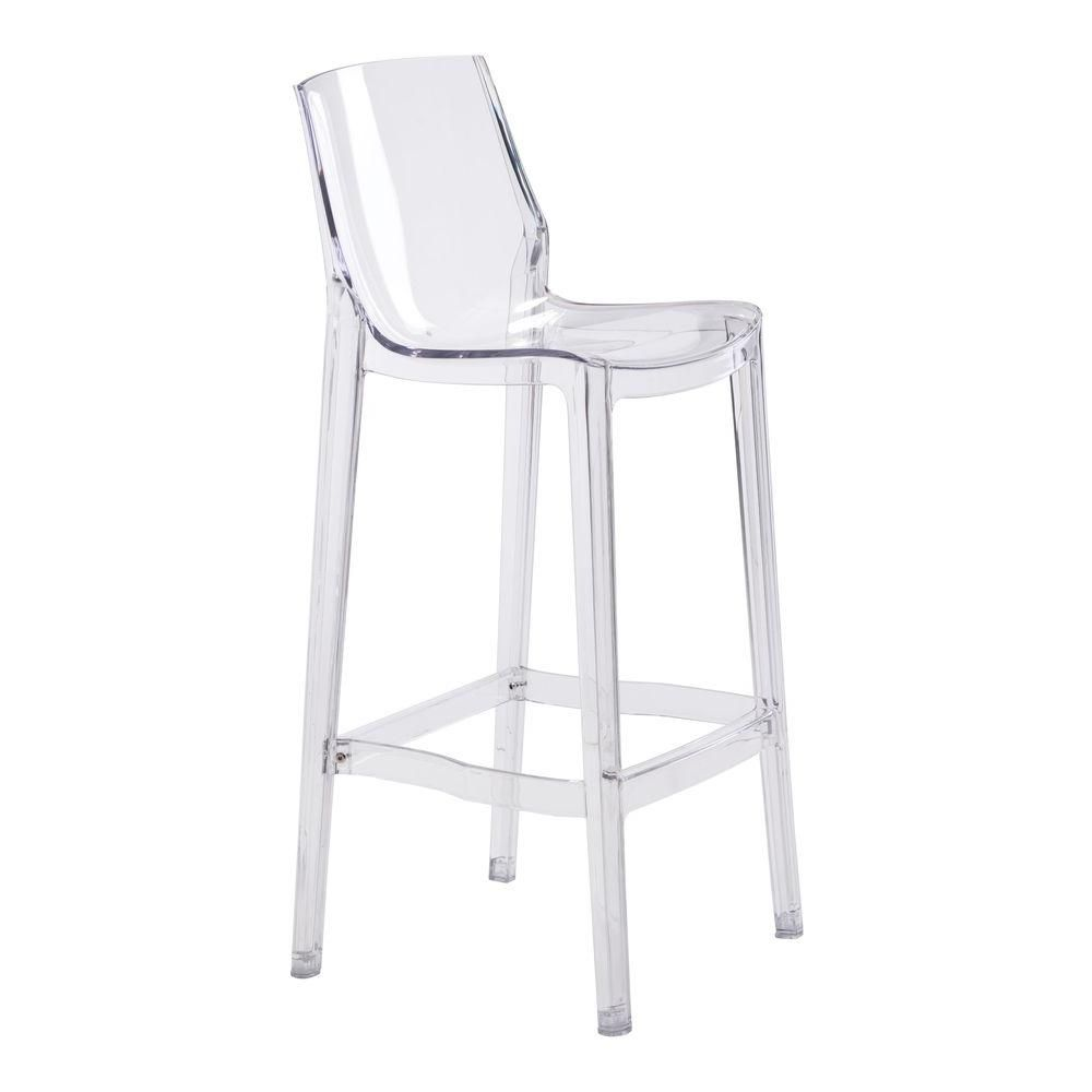 ZUO Phantom 9.9 in. Clear Bar Stool Set of 9 100989   The Home ...