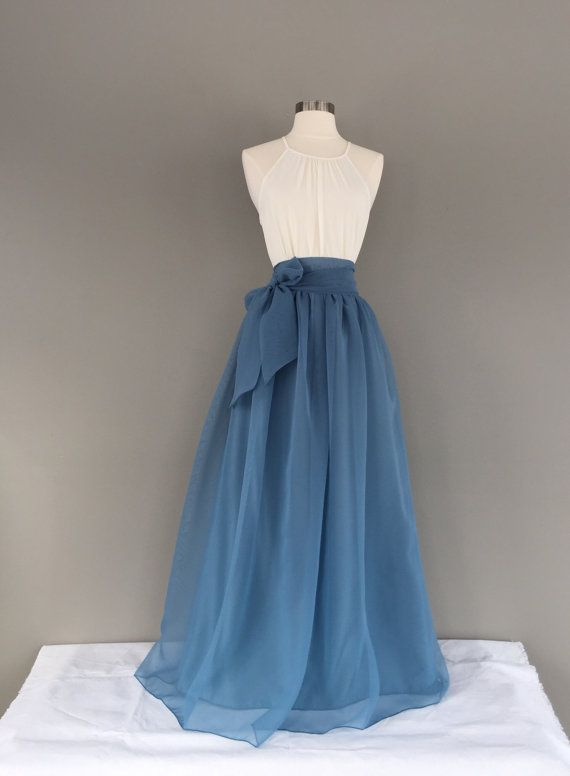 Photo of BLUE STONE Chiffon Skirt, any length and color Bridesmaid skirt, floor length, tea length, knee length, SASH not included