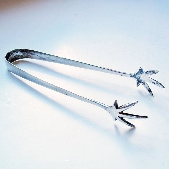Wiltshire Bar B Tongs: Vintage Silver Plate Ice Tongs