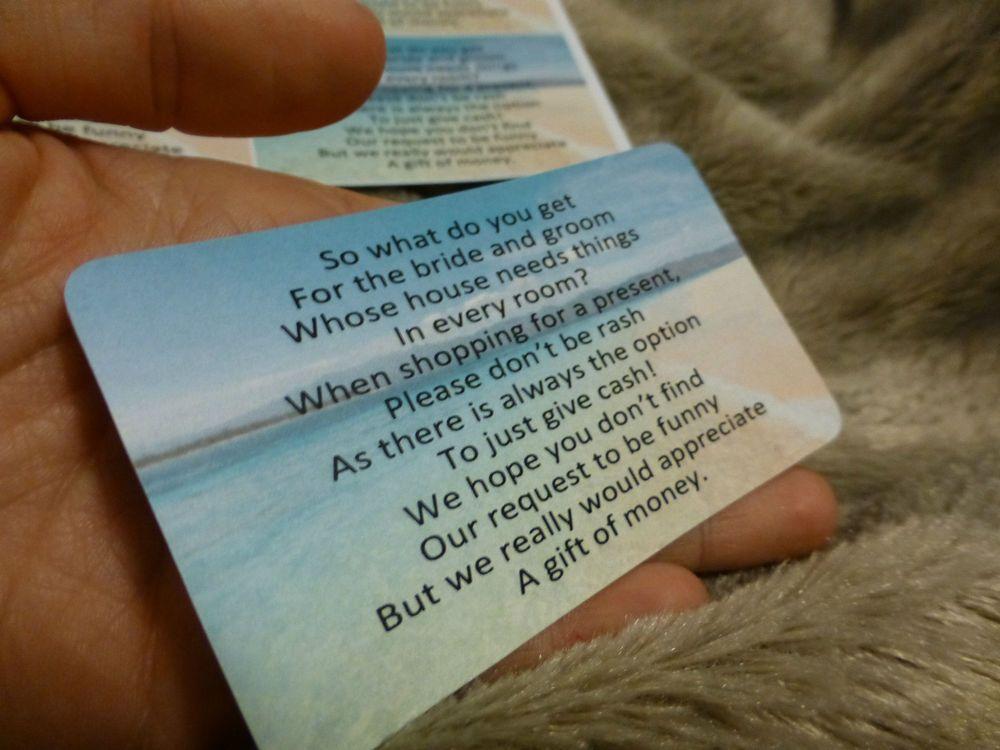 Details about wedding money poems beach scene honeymoon