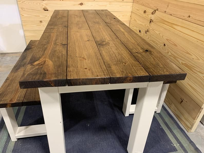 Rustic Narrow Farmhouse Table Set with Benches, Provincial