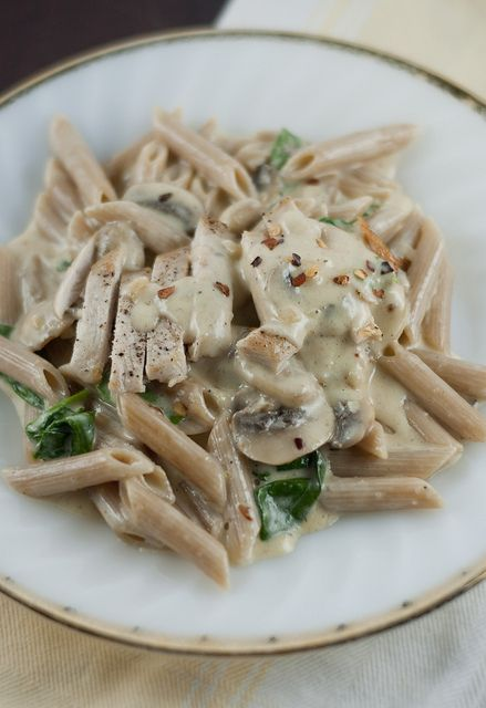 Penne Alfredo With Chicken Mushrooms And Spinach Food