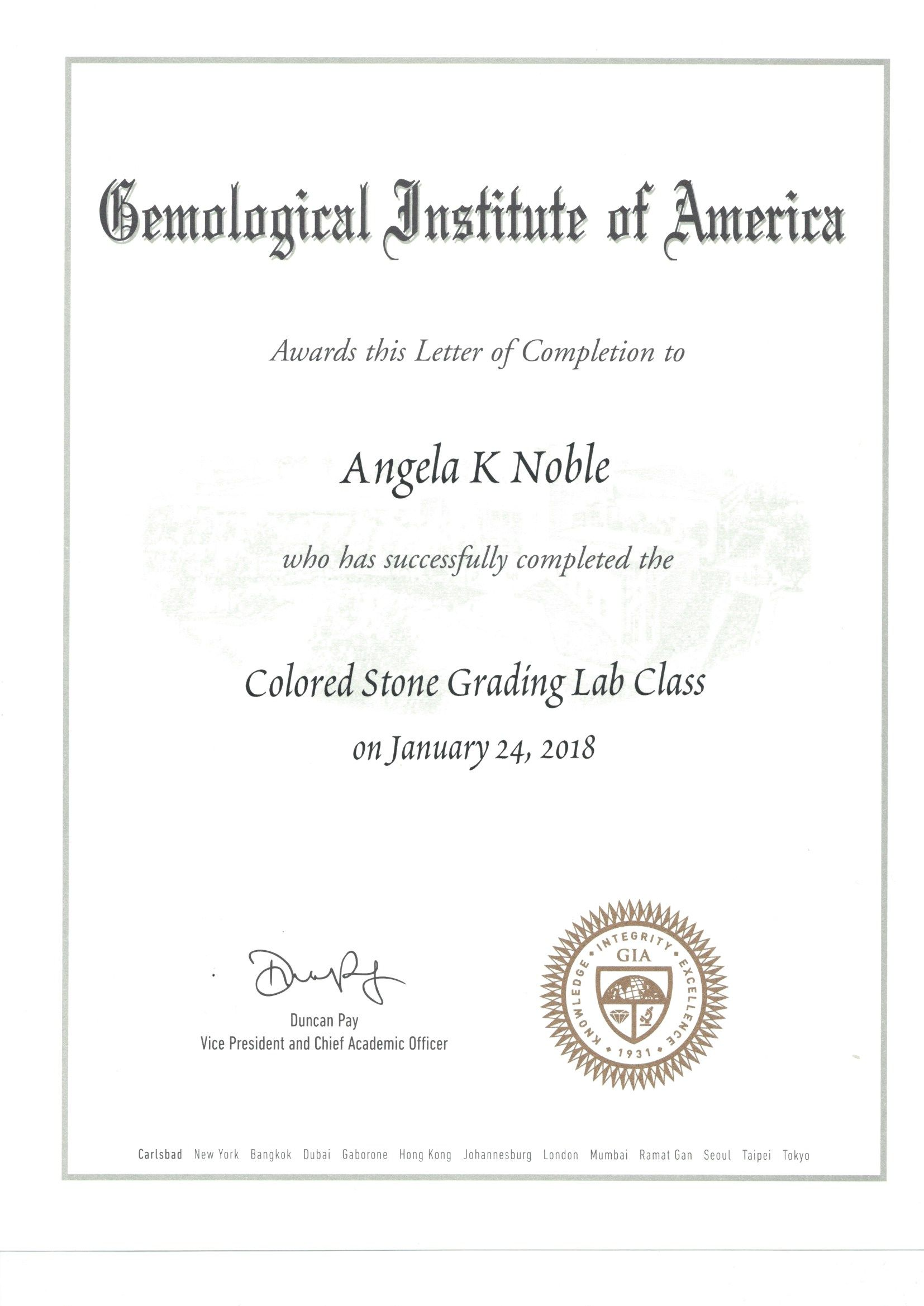 G I A Colored Stone Grading Lab Class Certificate Jewelry