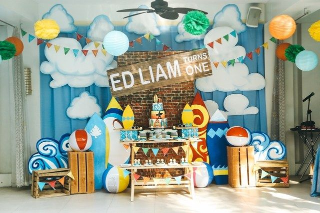 Liam S Little Surfer Themed Party 1st Birthday Surf Theme Party Beach Themed Party Beach Theme Party Decorations