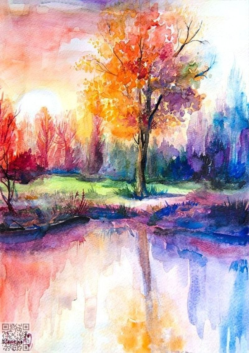 Water Colour Landscape Painting Pretty Watercolor Landscape