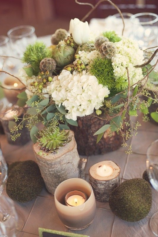 Dekoration holz blumen kerzen wald weddings for Kerzen dekoration