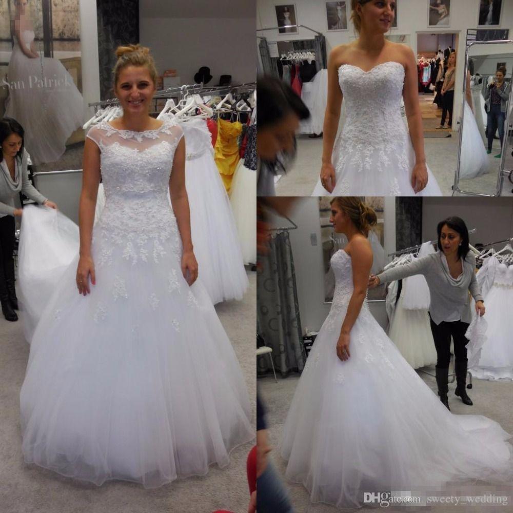 Plus size white wedding dresses  Modest Plus Size White Lace Wedding Dresses Appliques Beaded Covered