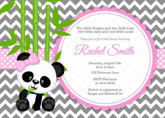 Pink And Grey Chevron Panda Bear Baby Shower Invitation By Cuddlebuginvitations 10 00