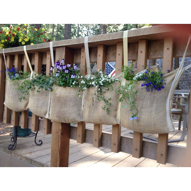 1000 Images About Garden Containers Deck Railing On: Burlap Planter Hanging From The Deck Railing