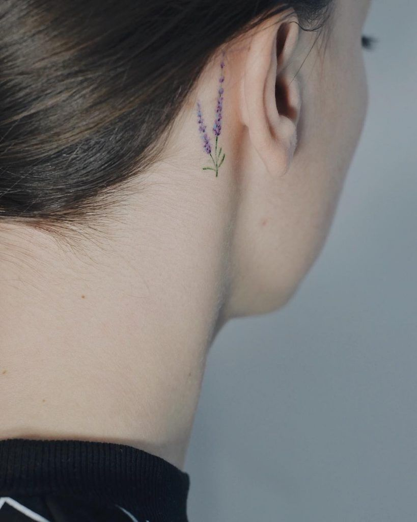 A Tiny Lavender Tattoo Behind The Right Ear Lavender Tattoo Tattoos For Women Ear Tattoo