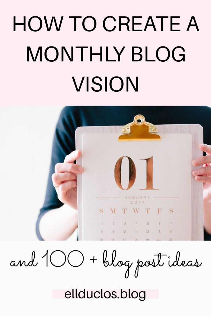 creating a monthly vision for your blog
