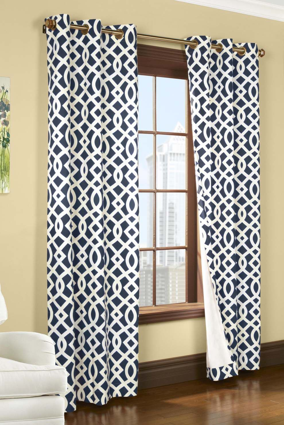 Drawing Of Adorn Your Interior With White Patterned Curtains