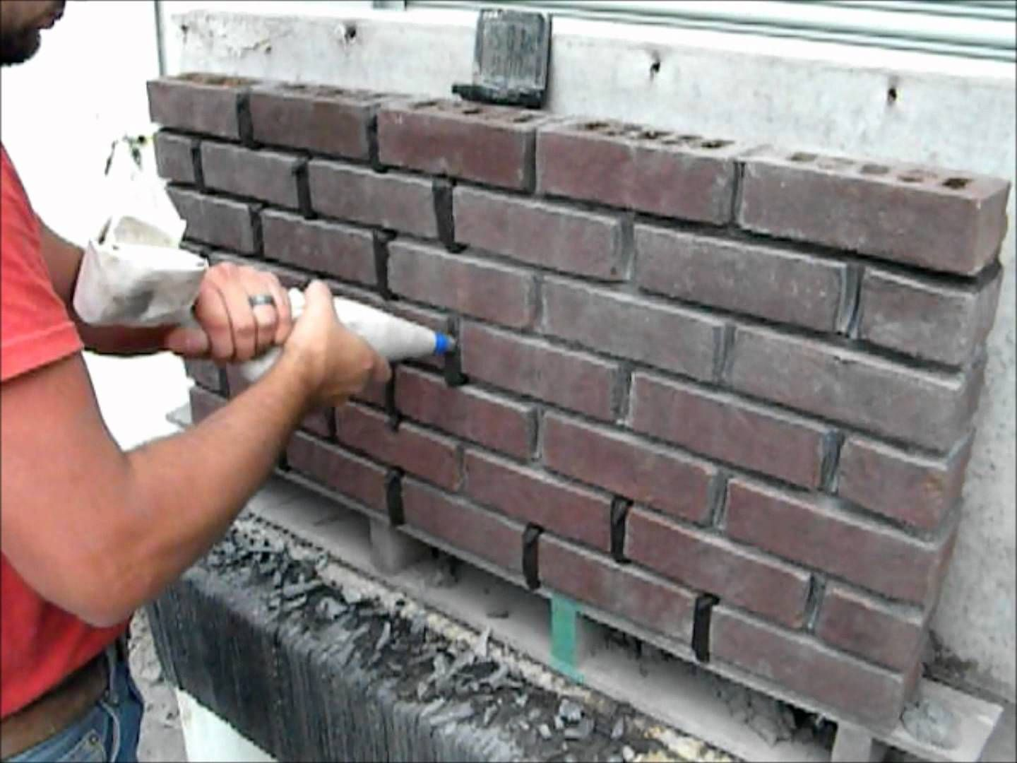 This Video Show The Process Of Masonry Tuck Pointing A Brick Wall Using A Masonry Grout Bag This Process Is Muc Brick Walkway Brick Decor Brick Fireplace Wall