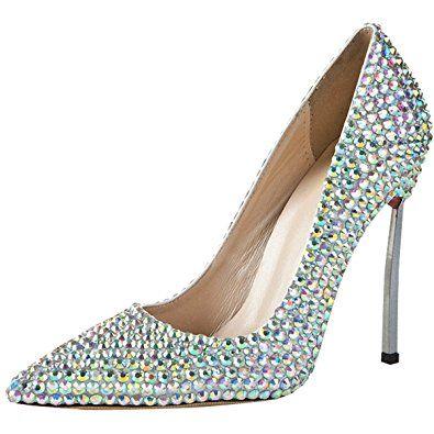Clearbridal Women's Colorful Wedding Bridal Shoes Shining Rhinestone Crystal Evening Party Stiletto Heel LSDN-1267 UK8