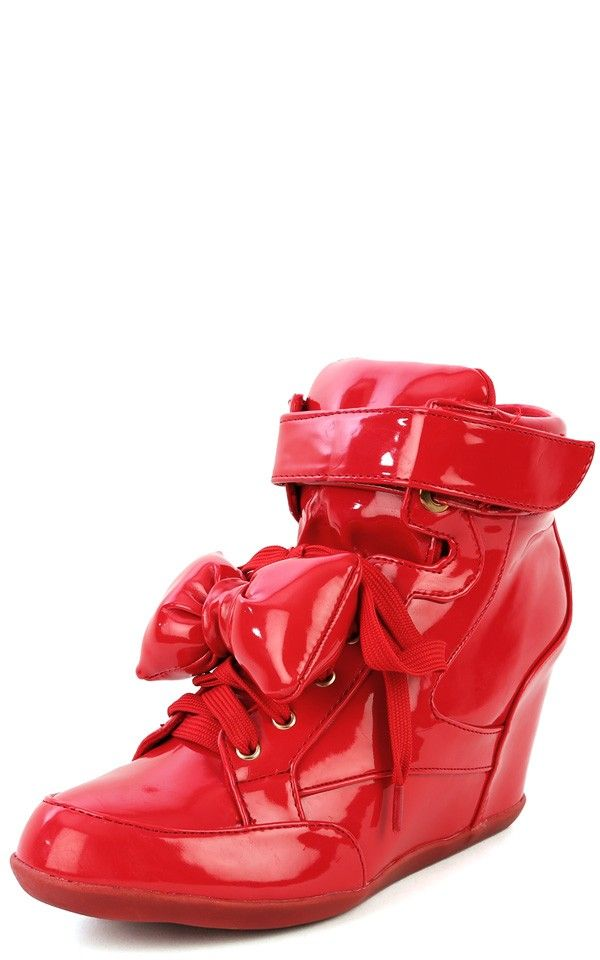 b3a087e39267 Privileged Amore Bow Wedge Sneakers RED
