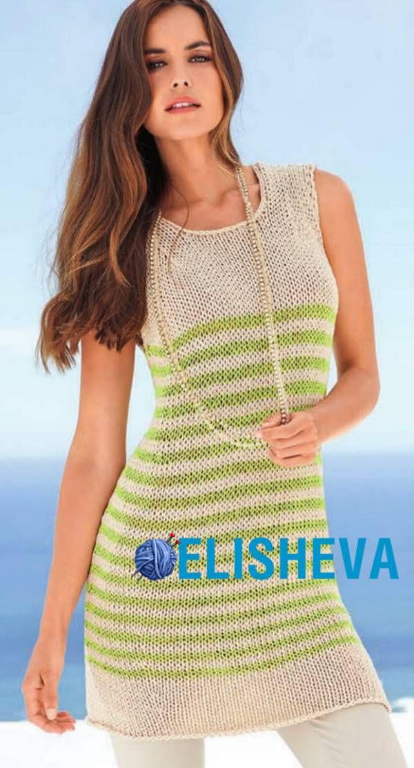 простое вязание летняя туника без рукавов спицами блог Elisheva