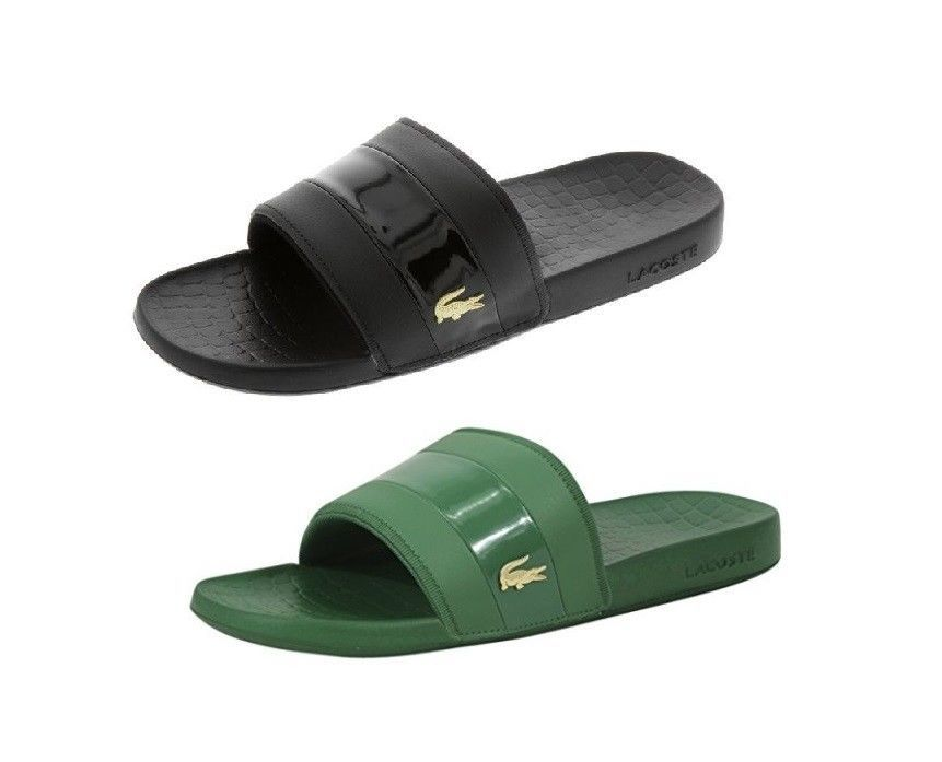 Sandals and Flip Flops 11504: Men S Lacoste Fraisier 118 1 Black Green, Gold