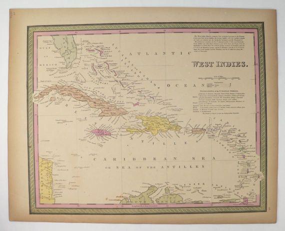 Antique Map West Indies Original Vintage Map Jamaica Cuba Map - Vintage map of jamaica