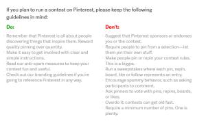 #Pinterest Guidelines für Gewinnspiele