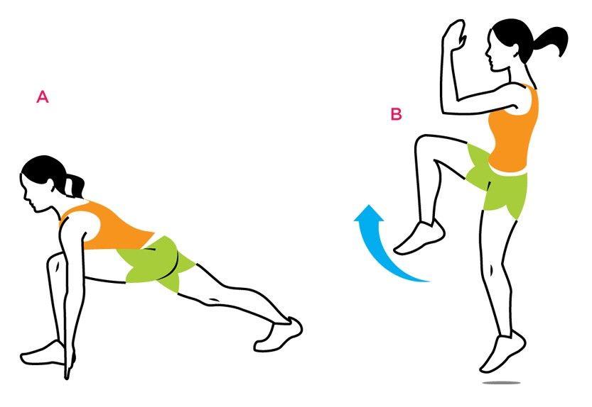 Desplante de corredor y salto con rodilla