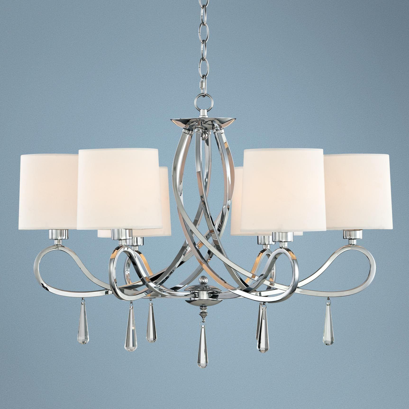 "Casual Dining Room Lighting Fixtures: Chrome Swirl Glass Drop 26"" Wide Chandelier"