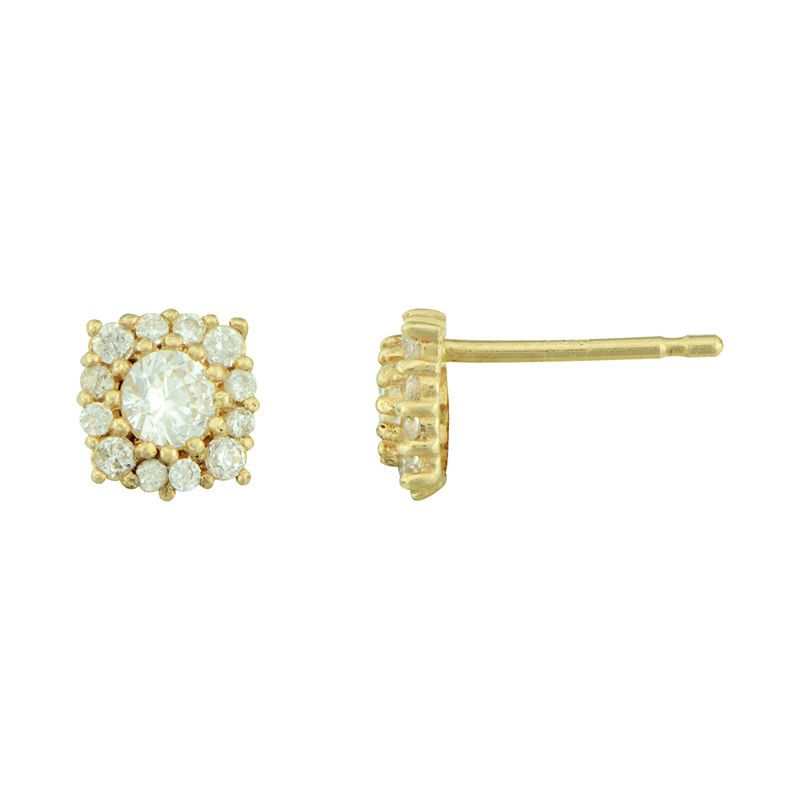 Fine Jewelry Petite Lux Cubic Zirconia 10K Yellow Gold Round Halo Stud Earrings Md0chp9