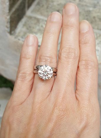Charlize S Upgrade 4 01 Carat Clic Tiffany Inspired Engagement Ring Hand View Image From