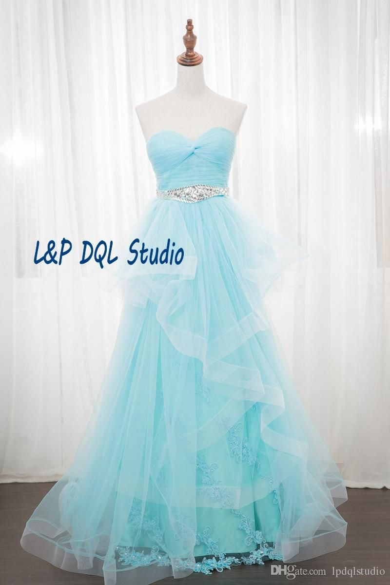 Light Sky Blue,Red,Pearl Pink Evening Dresses High Waist Long Prom ...