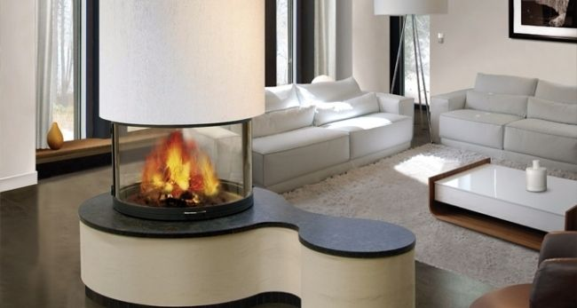 freistehender kaminofen rund glasfenster wohnzimmer wei e m bel chimeneas pinterest. Black Bedroom Furniture Sets. Home Design Ideas