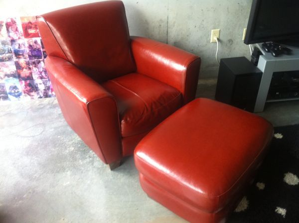 Natuzzi Italian Leather Chair Ottoman 900 Atlanta Craigslist - Red-italian-leather-armchairs-from-natuzzi
