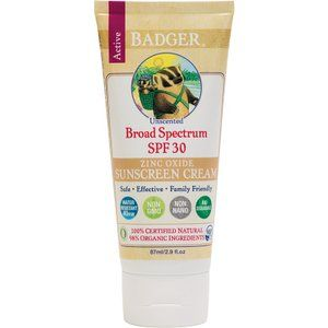 Badger All Natural Sunscreen, SPF 30, Unscented 2.9 oz (87 ml)
