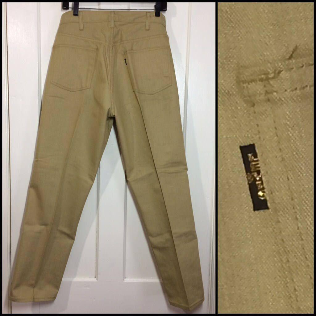 0f9b4d4b 1960s deadstock LEVI'S Big E Sta Prest peg leg tapered jeans pants measures  32X28 floods acid green beige color black tab NOS Ivy League #staprest # tapered ...