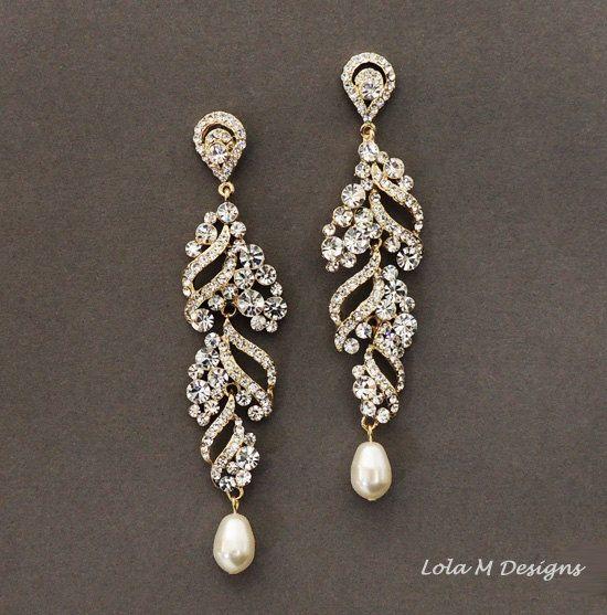 Gold Wedding Jewelry Bridal Earrings Rhinestone Dangle Crystal And Pearl Accessory