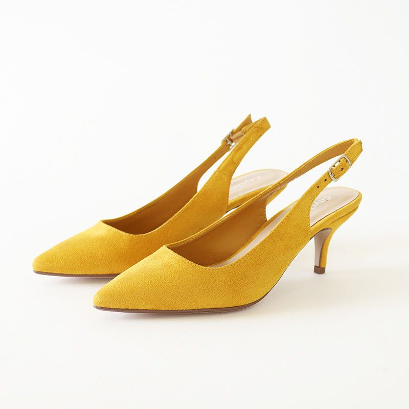 c487e9c882b Details about Trend Mustard Faux Suede Pointy Toe sling back heel ...