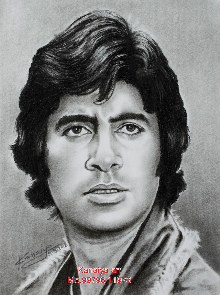 Indian actor art portrait pencil sketch of actor amitabh bachchan desipainters com
