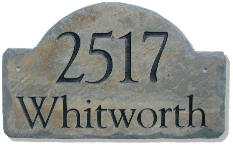 Address Plaque ARCH / CARVED STONE / Sign / Marker / Slate
