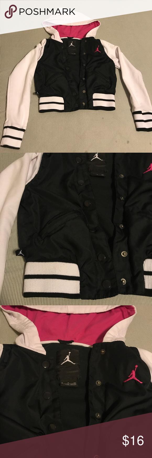 6448293d7cbba8 Girls White black pink Jordan Hoodie Jordan Hoodie Button up Varsity-like  Jordan Shirts   Tops Sweatshirts   Hoodies