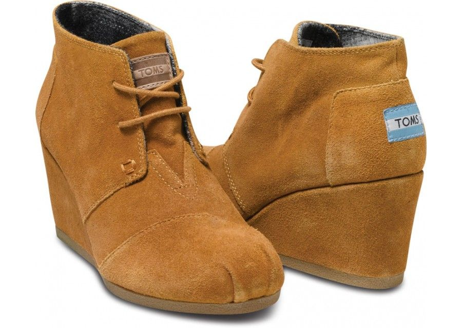 371c1f7171f I love TOMS  Chestnut Suede Women s Desert Wedges hero