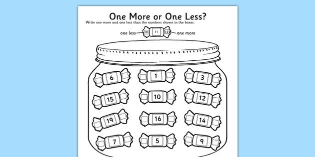 One More One Less Sweet Counting Activity Sheet- count ...