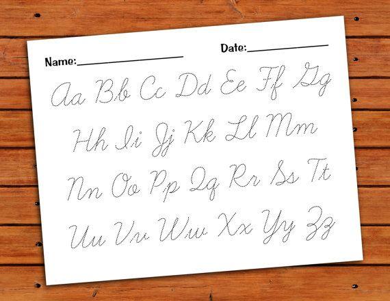 Cursive Alphabet Trace Worksheet - PDF - Printable   Alphabet ...