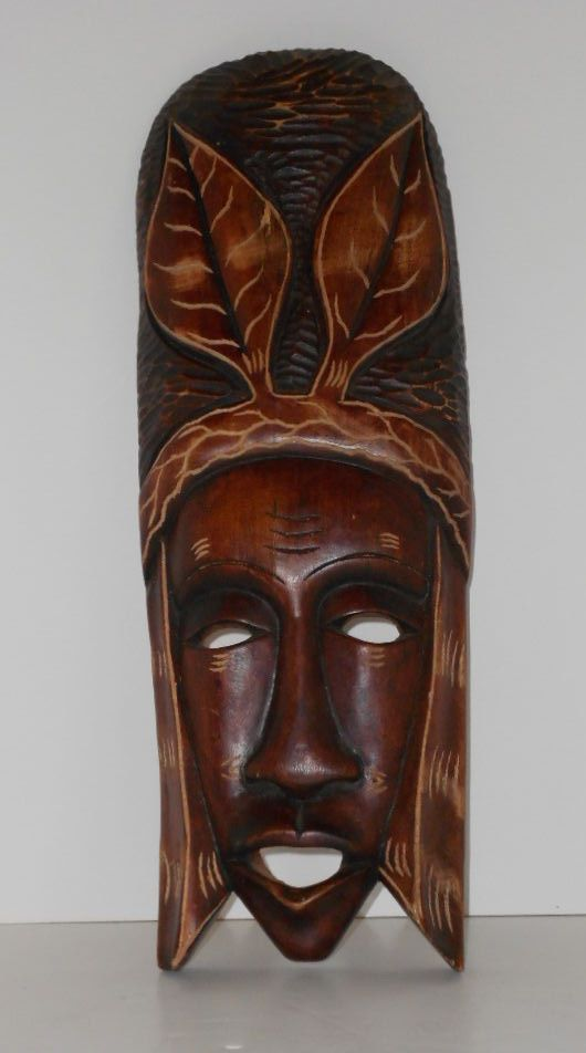 Vintage hand carved wood mask from haiti very cool piece
